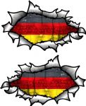Small handed Oval Ripped Pair Metal Design With Germany German Flag Vinyl Car Sticker 85x50mm Each